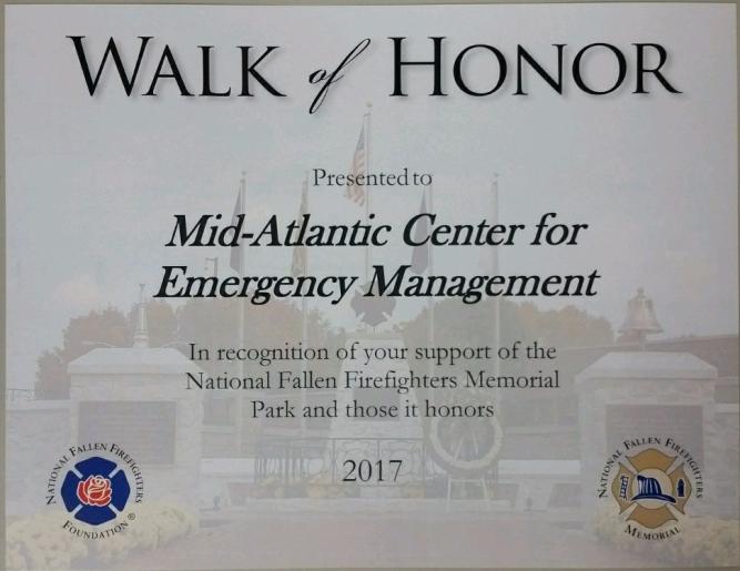 Walk of Honor Certificate