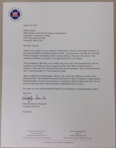 Walk of Honor Letter